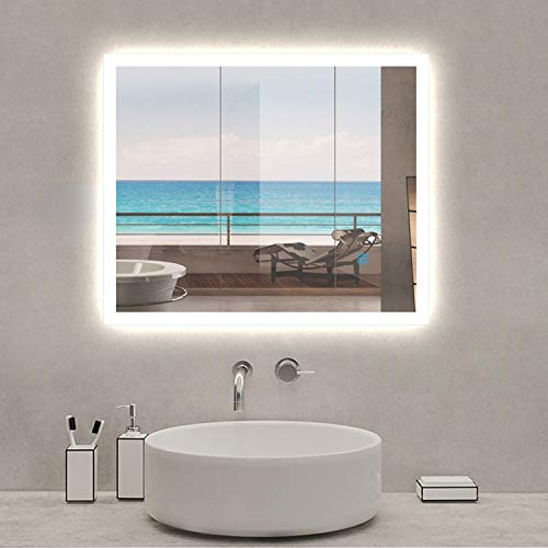 AICA SANITARIOS 60x50cm Tallas Grandes Espejo led baño Rectangular Espejos de Pared con desempañador, Interruptor de Sensor táctil