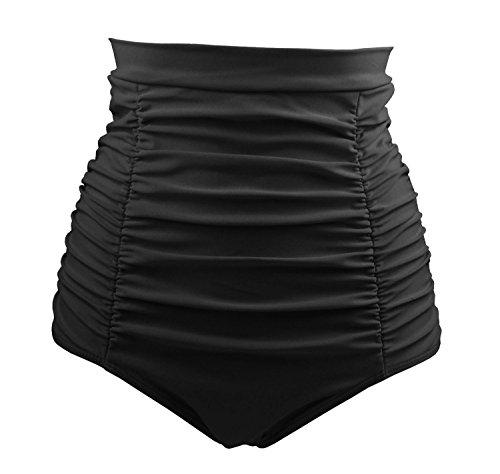 COCOSHIP Black Women's Retro Solids High Waisted Bikini Bottom Ruched Swim Short Tankinis L(FBA)