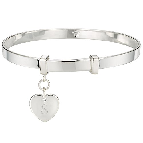 Molly Brown Personalised Sterling Silver Love Heart Christening Bangle for Baby - Perfect New Baby Gift & Toddler Jewellery