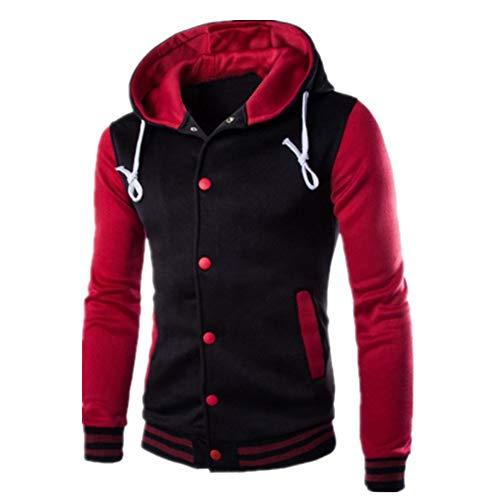 Mens Hooded Baseball Jacket Varsity College Jacket New Premium Unisex American Style Baseball Custom Top Mens Womens Ladies Gift Present Tops Outwear XL Wine Red