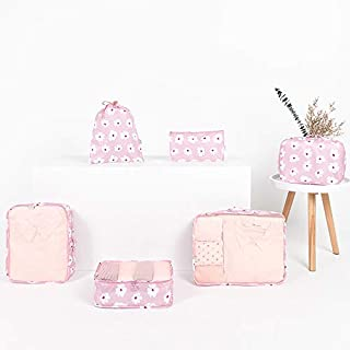 Value By Design 6 Piece Packing Cube Set Light Weight Durable Travel luggage Organiser Various Sizes Clothes Storage Sorting Shoe Bag Electronic Accessories Pouch Bra Storage Cube Laundry Bag