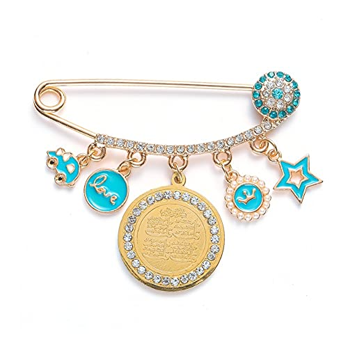 XiaoG Religious Style Muslim Islam Allah Quran Pendant Metal Brooch Pins (Color : Gold)