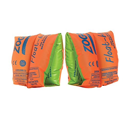 Zoggs Kinder Schwimmflügel Float bands bis 15 kg Easy Inflate Ventil, Orange/Green, One Size
