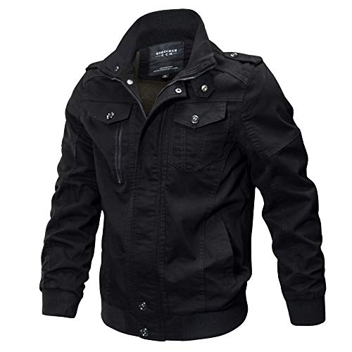 Clearance Forthery Men's Windbreaker Jacket Casual Military Jacket Button Down Outwear(Black, US Size L = Tag XL)
