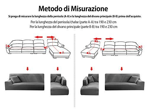 Copridivano con Penisola Elasticizzato Chaise Longue Sofa Cover Componibile in Poliestere a Forma di L è Composto da 2PCS (Grigio, 3 Posti+3 Posti)