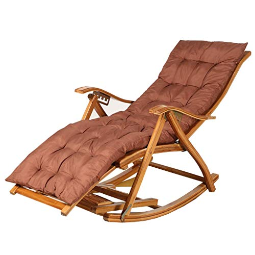 YYAI-HHJU Outdoor Deck Relaxing Lounger Seat Bamboo Zero Gravity Rocking Chairs with Thick Cushion Beach Garden Bedroom Balcony Living Room Bearing Weight 150 kg