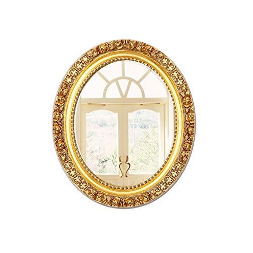 Decoración del hogar Espejos Espejo De Pared, Baño Retro Oval Maquillaje Escultura Escultura Espejo De Media Longitud Angustiada Espejo Europeo Sala De Estar Corredor Espejo Deco(Size:65*55CM,Color:A)
