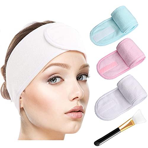 3 Stück Kosmetik Haarband Spa Haarband Make Up Stirnband mit Silikon-Maskenpinsel Kosmetik Stirnbänder Frottee Verstellbare Haarschutzband für Sport Yoga (Weiß, Grün, Rosa)