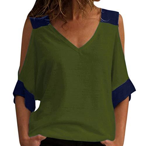 Camiseta Cuello en V Camisetas de Verano para Mujer Bloque de Color Informal Manga Corta con Cuello en V Camiseta básica Blusa Mujer Tops con Hombros Descubiertos Blusa Delantera con Nudo Camisetas