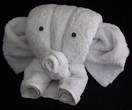 Elefant als Handtuch-Tier in weiß, Handtuchfigur