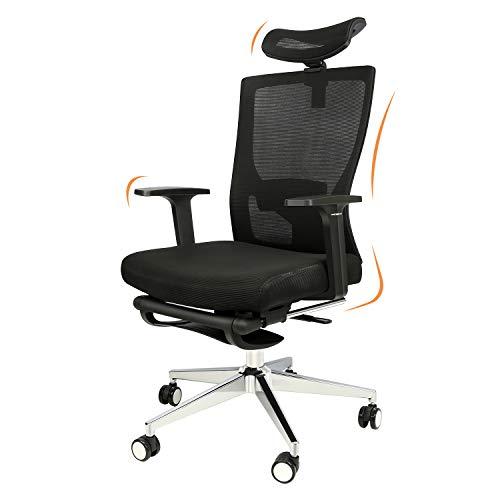 Ergonomischer Bürostuhl, 180° Rückenneigung Schreibtischstuhl mit Fußstützen, Drehstuhl mit Verstellbarer Lordosenstütze, Kopfstütze, Atmungsaktive Rückenlehne, Höhenverstellbar