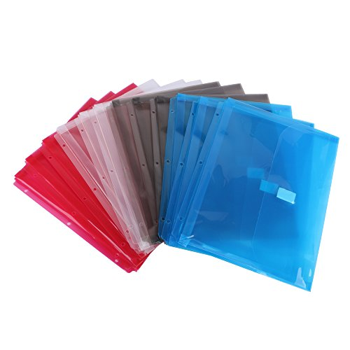 Eagle Binder Pockets, Poly Binder Folders for 3 Ring Binders, Letter Size, 1-Inch Gusset, Translucent Envelope with Hook and Loop Fastener, Assorted Colors, For Home, School and Office Use, Pack of 12