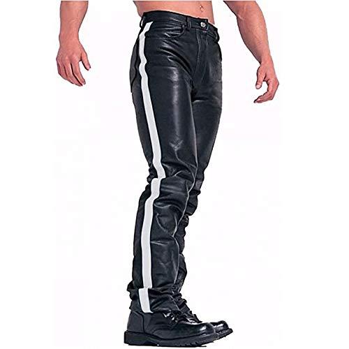 Slim Fit, Herren Lederhose/Lederjeans, Bikerlederhose Bikerjeans Lederjeans in Nubuk Leder seitlich Stripe Warm Freizeithose