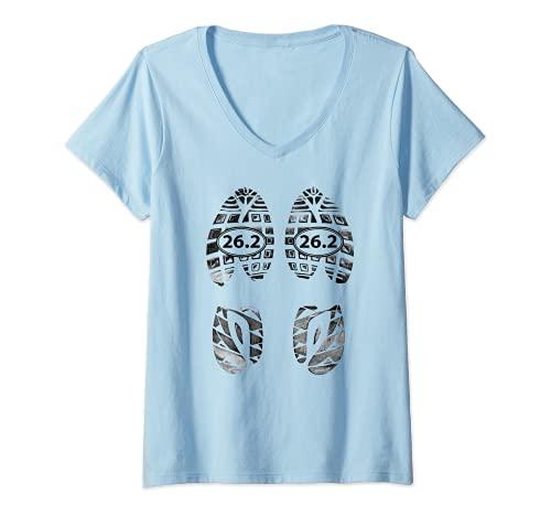 Femme Marathon Runners Gifts – 26.2 Chaussures de course T-Shirt avec Col en V