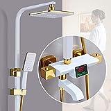 Duschsystem Thermostat-Duschsystem, Duschmischer mit Duschkopf und Drei-Funktions-Handbrause Messing-Duschsystem für Badewannendusche verstellbar Chrom, Weiß, Thirdgear