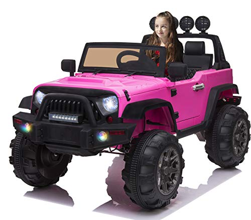 OTTARO Ride on Cars Trucks Electric Car for Kids, 12V Battery Powered Car w/Parental Remote Control, Spring Suspension, LED Lights, MP3 Player, Safety Belt(Pink)