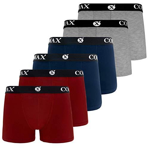 COLOMAX Herren Boxershorts Unterhosen Unterwäsche Baumwolle S-M-L-XL-XXL 6er Set (XXXL, 2X Blau / 2X Rot / 2X Grau)