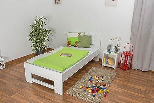 Kinderbett   Jugendbett Buche massiv Vollholz Weiß lackiert 111, inkl. Lattenrost - Abmessung 90 x 200 cm