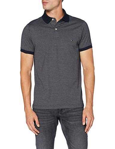 Tommy Hilfiger Two Tone Textured Slim Polo Camisa, Azul (Des