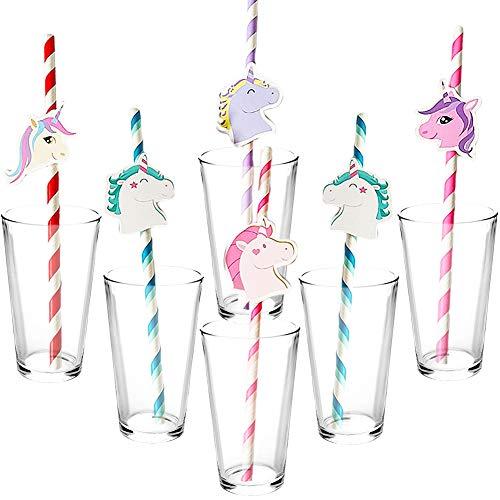 FANDE Cannucce di Carta, 50 Pezzi Cannucce da Cocktail, Unicorno Cannuccia Carta per Bevande Tropicali Festa di Compleanno Festa di Matrimonio