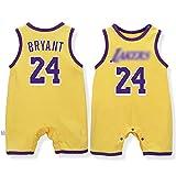 Photo de Deguisement Bebe avec NO.24 Kobe Bryant,Barboteuse Bebe pour Les Nouveau-nés,Body Garcon Naissance pour Les Bébés âgés de 3 à 15 Mois,Yellow2,80CM(9-12Months)