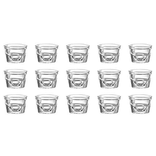 Snap by R&B 165.814 Kerzenleuchter 4fire für Spitzkerzen & Teelichter, 6 x 6 x 4 cm, Glas, klar (15 Stück)