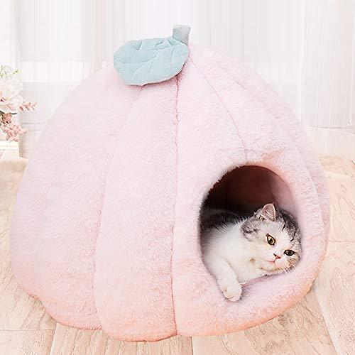 Urijk Katzenhöhlen Katzenbett Kuschelhöhle mit abnehmbar weich Innerkissen Schlafsack Katzenzelt Katzenkorb Tierbett zum Schlafen für Kleine bis Mittlere Größe Katzen (40x40cm, Rosa)