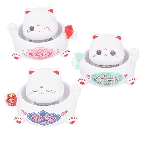 Paquete de 3 Maneki Neko Lucky Cat con Cabeza oscilante, Resina Lucky Charms Figuras de Gato de Dibujos Animados Good Luck Fortune Cat Feng Shui Cat