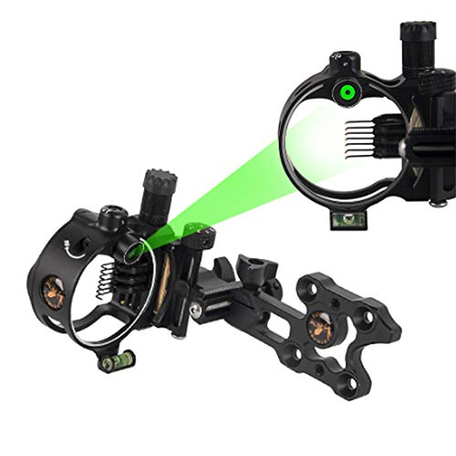 SHARROW Visor de Arco Bow Sight 5 Pin 7 Pin Vista de Arco Compuesto Micro Ajustable Miras para Arcos Compuestos Vista 0.019 Fibra óptica(DB9170 Negro(7 Pin))