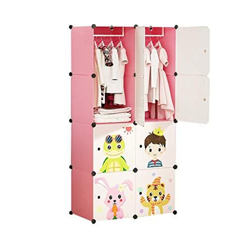 Armoires GGJIN de Simples Enfants Full Accrocher Closet bébé Vêtements Hanging Porte coulissante Fille Princesse (Color : Pink)