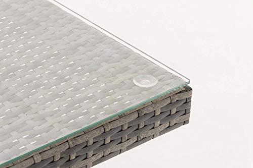CLP Polyrattan-Gartentisch FISOLO mit Einer Tischplatte aus Glas I Wetterbeständiger Tisch aus Polyrattan Grau Meliert - 4