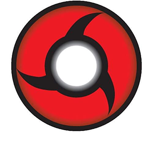 Matlens - Crazy Fun Motiv Cosplay Farbige Naruto Sharingan Kontaktlinsen serie Itachi Uchiha Mangekyou rot CP-S3 2 Linsen 1 Kontaktlinsenbehälter 1 Pflegemittel 50ml
