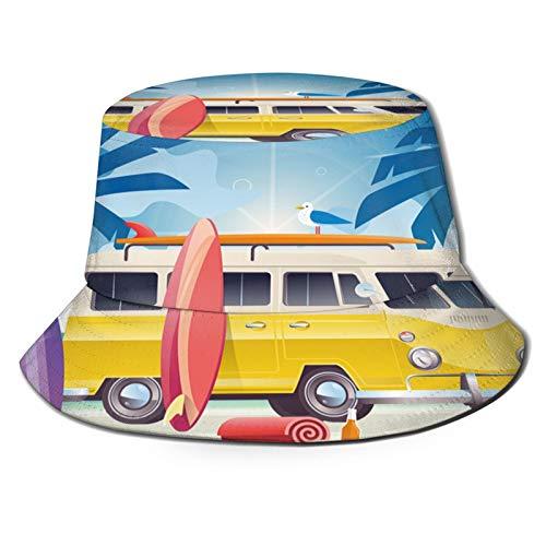 Unisex Bucket Sun Hats Summer Colorful Camper Van Wagon Truck Surf Surfing Vacation Fashion Summer Outdoor Travel Beach Fisherman Cap