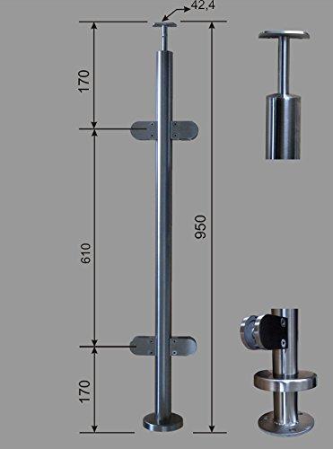 PMC Edelstahl Geländer Pfosten RR 42,4 mit 4 Glashalter 180° V2A