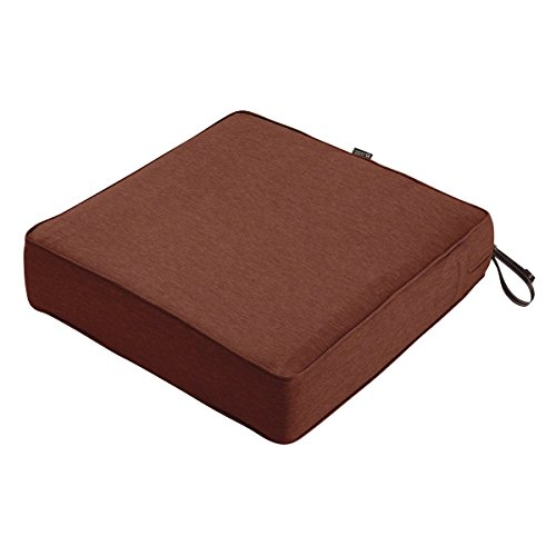 Classic Accessories Montlake WaterResistant 25 x 25 x 5 Inch Patio Seat Cushion Heather Henna Red
