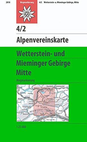 Wetterstein und Mieminger Gebirge, Mitte: Wegmarkierung (Alpenvereinskarten)