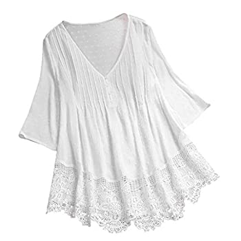 Aniywn Women Round Neck Lace Up Lace Patchwork Flare Pullover Top Casual Plus Size 3/4 Sleeve Floral Printed T-Shirt
