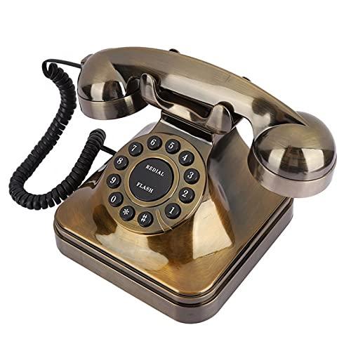 ELKeyko Pasado de Moda Desktop Landline Teléfono Retro Vintage Teléfono Viejos Teléfonos Antigua Bronce Cordon Teléfono Fijo for Oficina for el hogar Decoración del Hotel Teléfono nostálgico