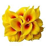 Aisamco 20 Piezas Artificial Calla Lily Lataex Real Touch Flower Bouquets Flor de Seda Artificial para la Boda Nupcial Decoración del hogar
