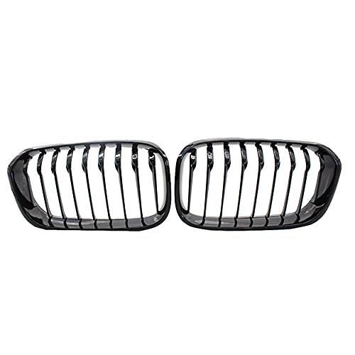 YSSDZYYMXD Griglia Renale, per F20 LCI 1 Series 2015 Front Hood Grille Grille Single Slats Radiatore Grill Cornice High Gloss Black