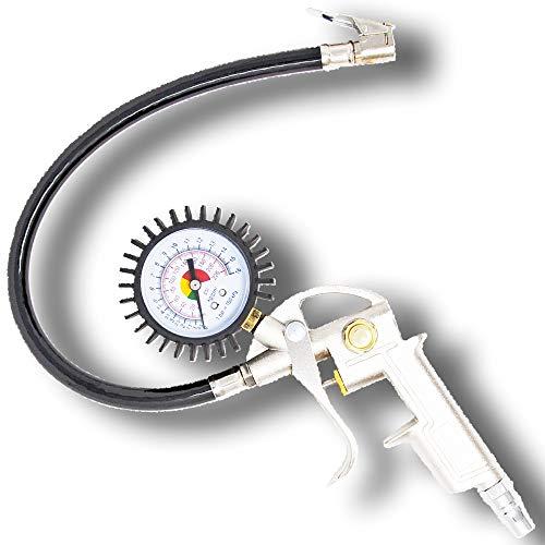 【工具のジョー】 エアチャックガン エアゲージ タイヤゲージ 空気入れ 空気圧調整 コンプレッサーで使用可能 自動車 バイク kg表示あり 日本語説明書