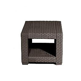 Mini Table Basse Carrée Petite en Rotin Brun Mobilier d'Extérieur Jardin Patio