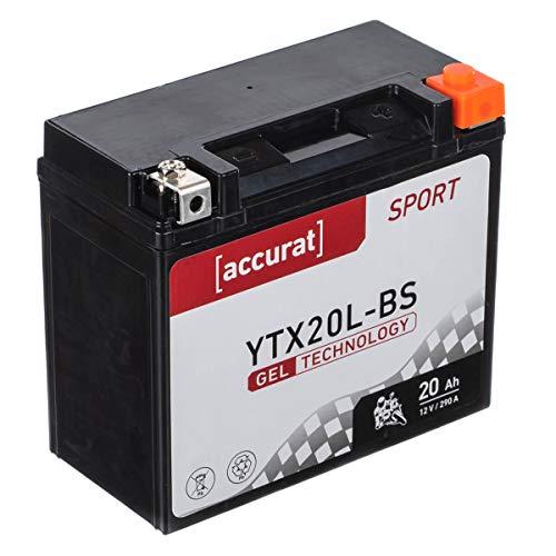 Accurat Motorradbatterie YTX20L-BS 20Ah 290A 12V Gel Technologie Starterbatterie in Erstausrüsterqualität zyklenfest sicher lagerfähig wartungsfrei