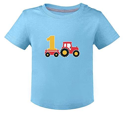 Green Turtle T-Shirts Camiseta para niños - Regalo de Cumpleaños para Niños de 1 Un año 12M Celeste