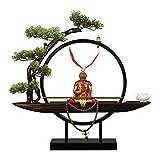 planta de escritorio 18.9 'Bonsai Tree Lights LED for uso en interiores Uso de tablero de árboles Faux Bonsai Tree Faux Potted Houseplant y Monkey King Sculpture for la decoración del hogar Árboles ar