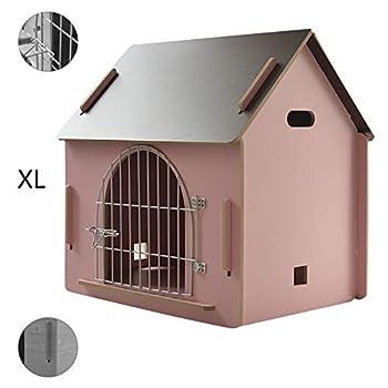 Cages et chenils Maison pour Animaux lit pour Animaux de Compagnie Villa pour Animaux de Compagnie Niche pour Chien en Plein air Litière pour Chat d'intérieur (Color : Pink, Size : 79.5 * 55 * 74cm)