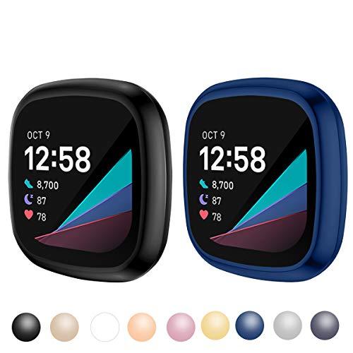 KIMILAR [2 Stücke Schutzhülle Kompatibel mit Fitbit Sense/Versa 3 Hülle, (Nicht für Versa/Versa 2) Vollständige Abdeckung Weiche TPU Cover Case Schutzfolie für Versa 3/Sense Smartwatch