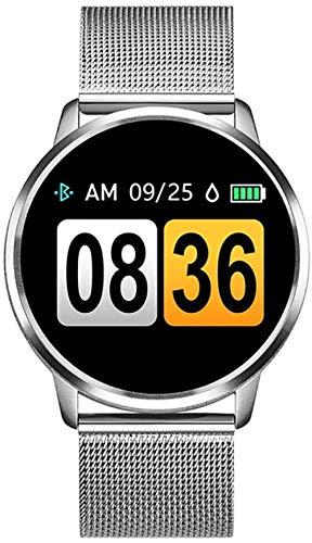 hwbq Reloj inteligente OLED pantalla a color reloj inteligente femenino moda fitness Tracker monitor de ritmo cardíaco reloj deportivo plateado