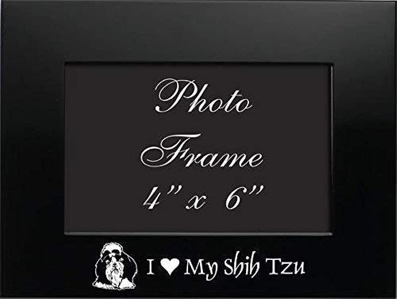 4x6 Brushed Metal Picture Frame I Love My Shih Tzu Black
