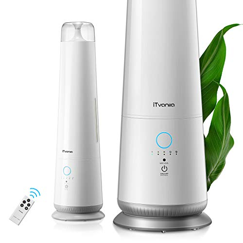 iTvanila Cool Mist Humidifiers for Large Room 4.5L Intelligent Floor Humidifier with Auto Humidity and Remote Control for Bedroom and Baby Nursery, 50 Hour Long Last, Ultrasonic Whisper Quiet (S2)